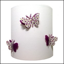 Applique papillons 3D liberty fond blanc personnalisable