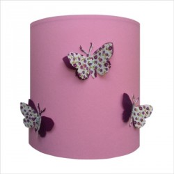 Applique papillons 3D liberty fond rose clair