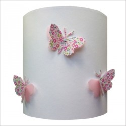 Applique papillons 3D liberty rose fond blanc personnalisable