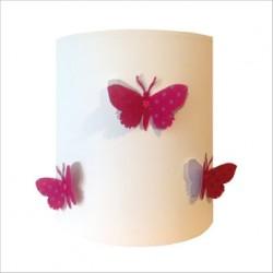 Applique papillons 3D rose étoilé et argent