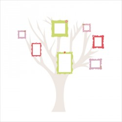 Arbres généalogique adhésifs rose et vert