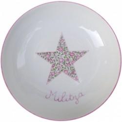 Assiette étoile liberty rose personnalisable