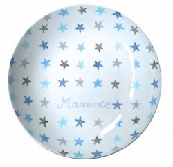 Assiette étoiles bleues et grises personnalisable
