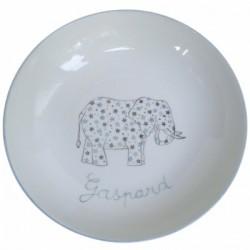 Assiette de baptême Éléphant et étoiles grise personnalisable
