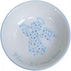 Assiette de baptême Ange et étoiles bleue personnalisable