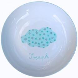 Assiette de baptême nuage et étoiles bleue personnalisable