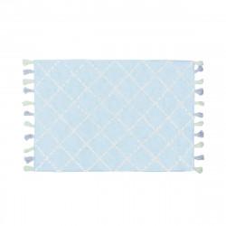 Tapis bébé coton motifs triangulaires Tanger bleu ciel