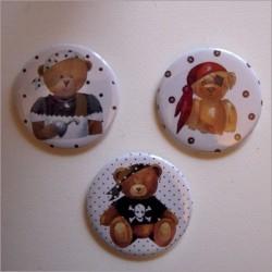 Badges 3 ours garçons pirates