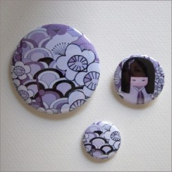 Badges assortis  kokeshi fille 5