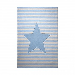Tapis étoile My little star bleu en laine