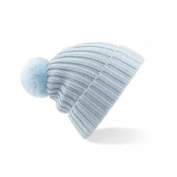 Bonnet bleu ciel avec pompon