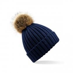 Bonnet bleu marine avec pompon
