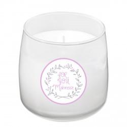 Bougie parfumée blanche maîtresse For you mauve personnalisable