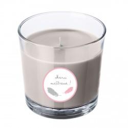 Bougie parfumée grise maîtresse plumes rose personnalisable