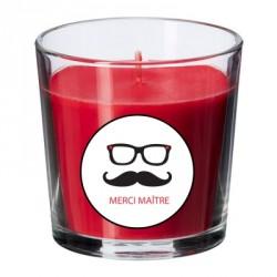 Bougie parfumée rouge maître lunettes personnalisable