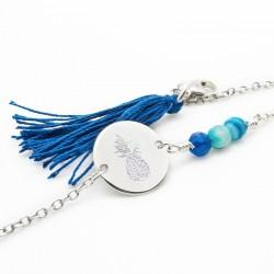 Bracelet bleu Ananas - Argent