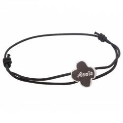 Bracelet Cordon Trèfle - Argent
