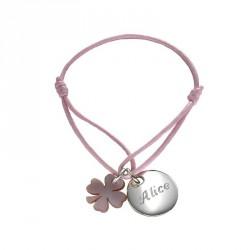 Bracelet Kids Médaille de trèfle- argent