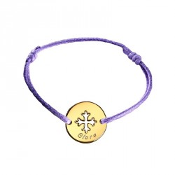 Bracelet mini jeton Croix occitane - plaqué or