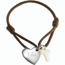 Bracelet Kids Coeur de croix- argent ou plaqué or