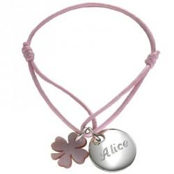 Bracelet Kids Médaille de trèfle- argent ou plaqué or
