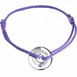 Bracelet Mini Jeton - Or Blanc Amethyste