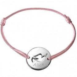 Bracelet mini jeton Colombe- argent
