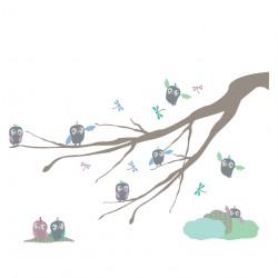Sticker Branche Hiboux bleue et verte