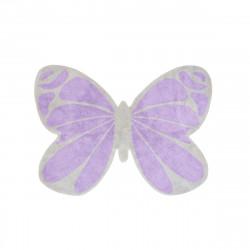 Tapis enfant coton en forme de papillon gris et violet
