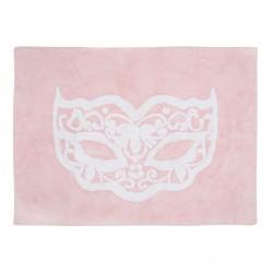 Tapis enfant coton masque carnaval rose