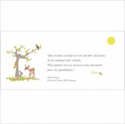 Carte de remerciements arbre de la forêt