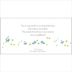 Carte de remerciements Patchwork H bleu
