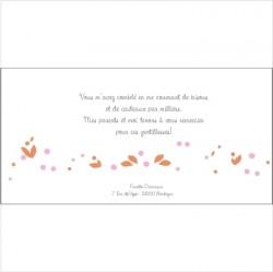 Carte de remerciements Patchwork H orange
