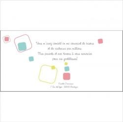 Carte de remerciements Patchwork Q fille rose