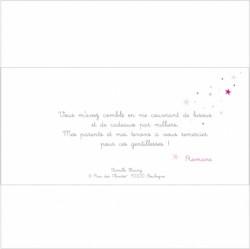 Carte de remerciements pluie d'étoiles roses