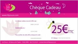 Chèque cadeau de 25 €uros