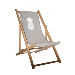 Chaise longue toile coton ananas personnalisable
