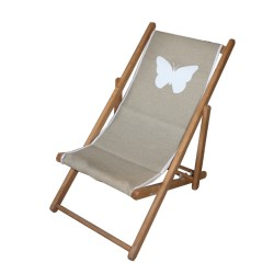 Chaise longue toile lin papillon personnalisable