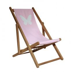 Chaise longue toile coton papillon personnalisable