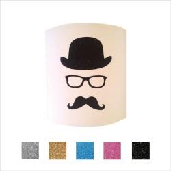 Applique chapeau lunettes moustache personnalisable