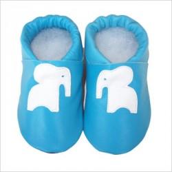 Chaussons Bleu Motif Eléphant blanc
