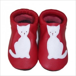 Chaussons Rouge Motif Chat Blanc