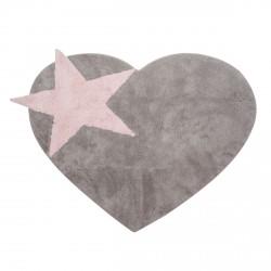 Tapis en forme de coeur gris et rose