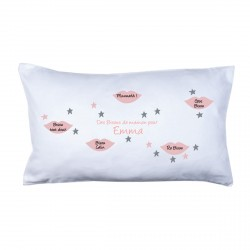 Coussin bisous maman rose