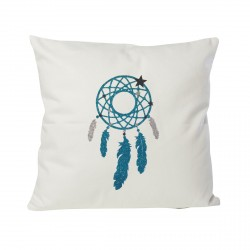 Coussin attrape-rêves argent/turquoise