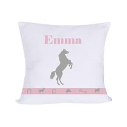 Coussin cheval harmonie rose et gris