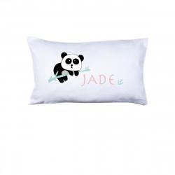 Coussin panda Jade rose et menthe personnalisable