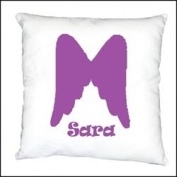 Coussin ailes d'ange violet personnalisable