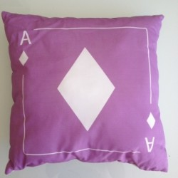 Coussin carte as de carreau mauve