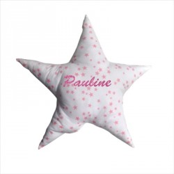Coussin en forme d'étoile, étoiles rose, personnalisable